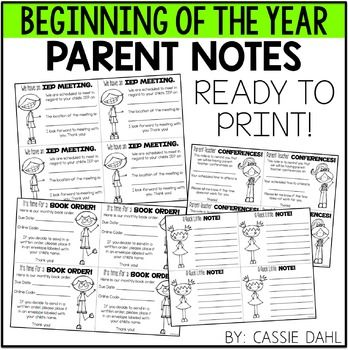 Parent Notes: Relieve some of the stress from the beginning of the year? These Parent Notes are a quick print so you can prep them before the…