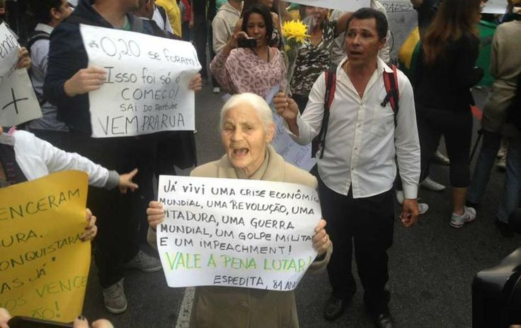 """I lived a world economic crise, a national revolution, a dictatorship regime, a war, a  military coup d'état and a presidential impeachment! Worth fighting! ESPEDITA, 84 years old"