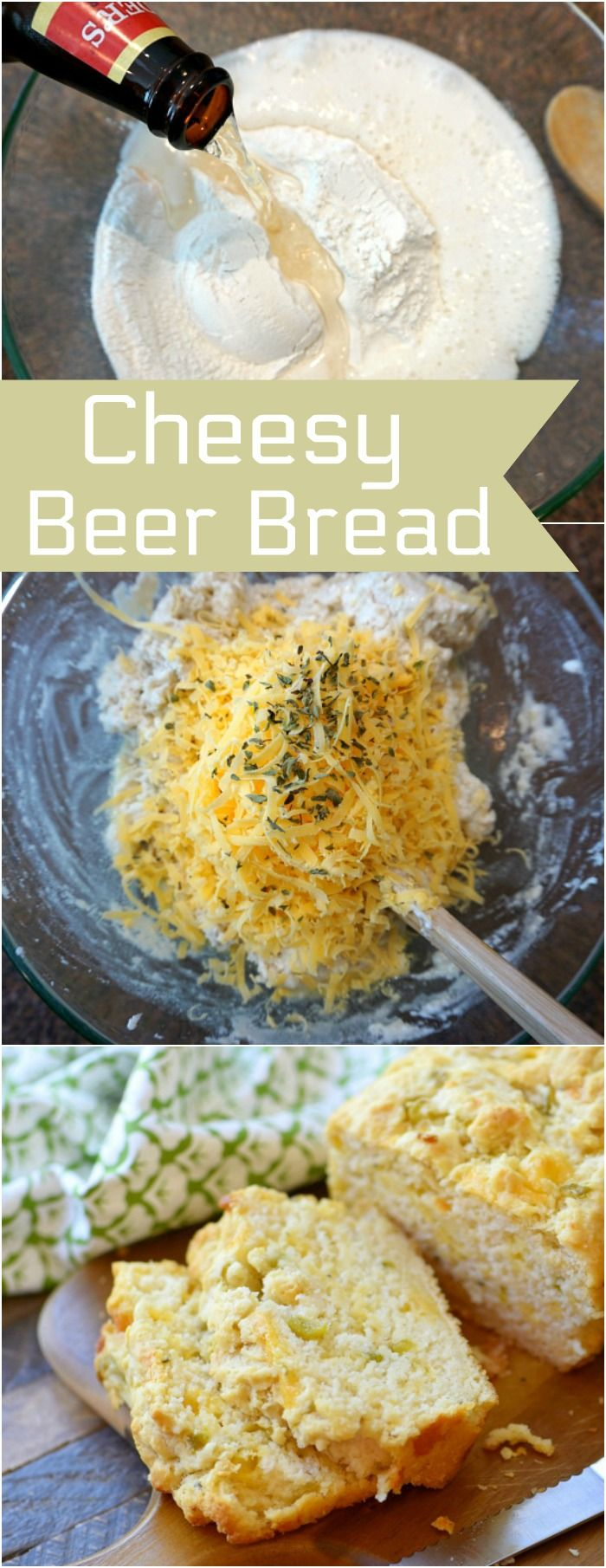 The Best beer bread recipe you'll ever make with just 3 ingredients! Add cheddar cheese and chiles and it is out of this world and so easy to make.