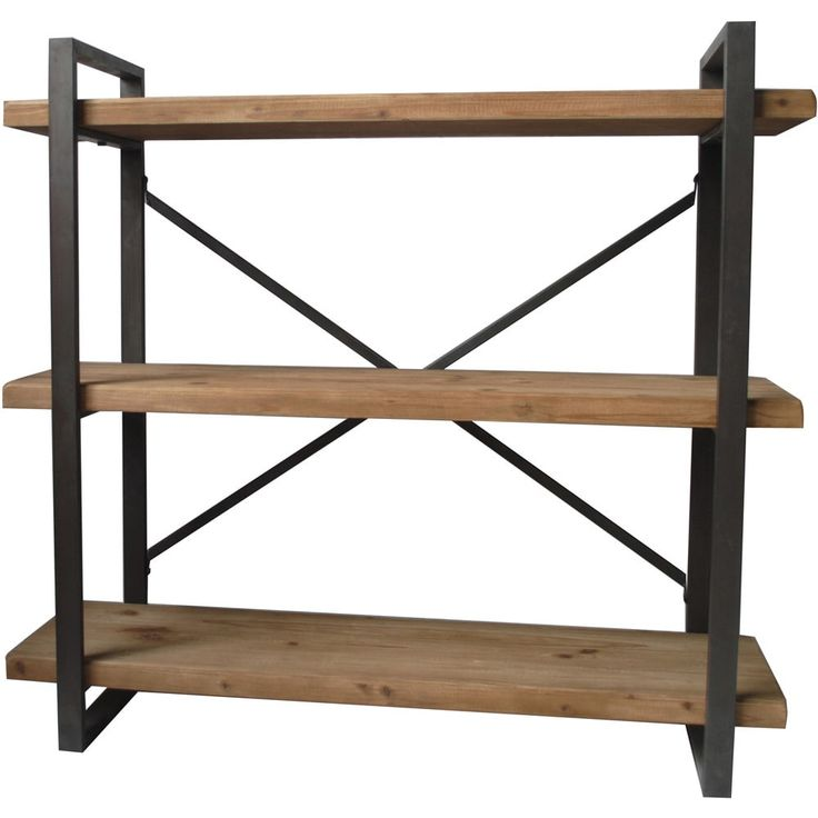 aurelle home industrial and rustic farmhouse metal 3tiered bookcase natural shelve brown