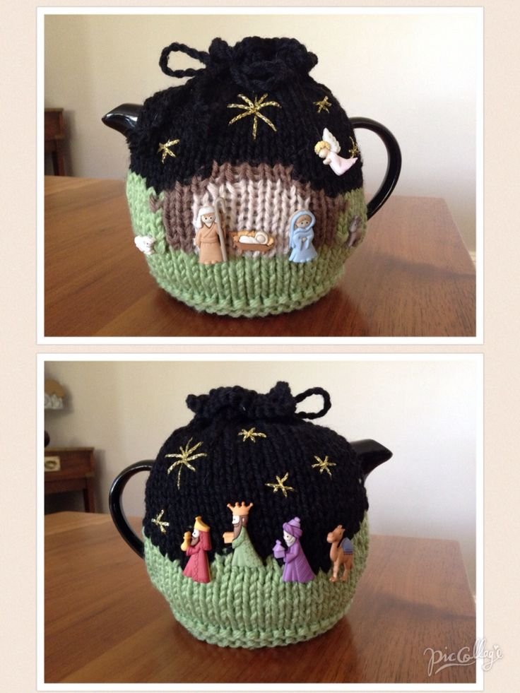 Knitted Novelty Christmas Nativity teapot cosy Buttons sourced from krazykreations.com.au