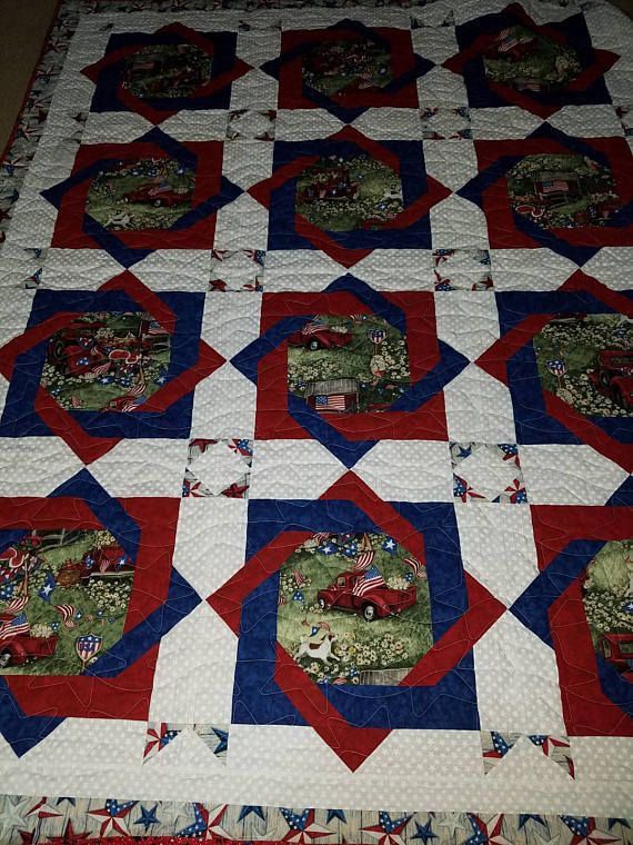 Americana Red Truck Quilt Quilt Ideas American Flag