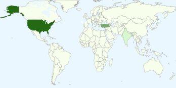 Blog görüntüleyen kişiler arasında en popüler ülkelerin grafiği