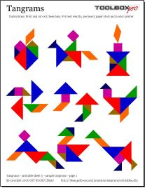 Tangram patterns - cut shapes from craft foam and use at bath time (shapes stick to shower wall w water)