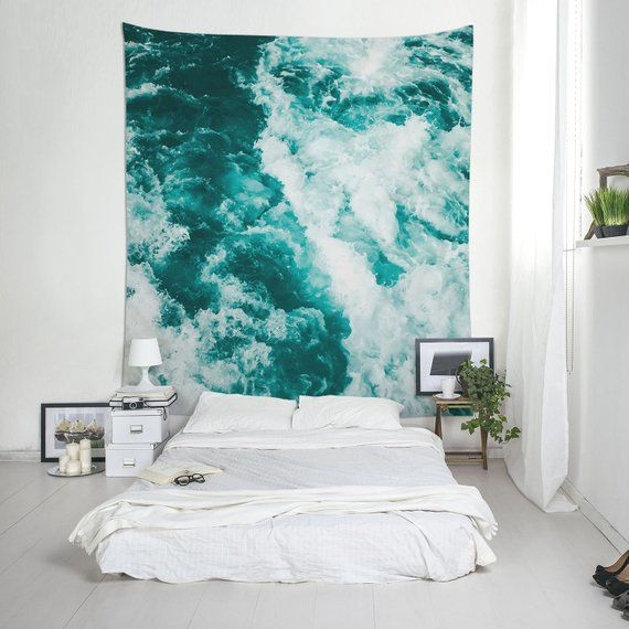 Water Tapestry Nautical Turquoise Wall Art Abstract Hanging Decor Lightweight Photography Fabric Ul057