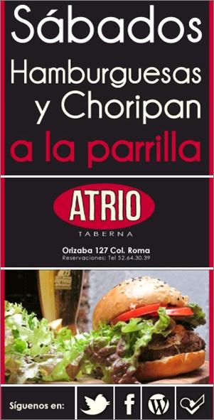 Los Sábados y los Domingos son de Parrillada en el Atrio, te recomendamos AMPLIAMENTE nuestras hamburguesas y choripan a la parrilla ¡Visítanos! =)  https://www.facebook.com/AtrioTaberna