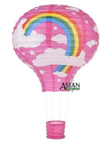 "Fuchsia Rainbow Hot Air Balloon Paper Lantern by Asian Import Store, Inc.. $4.95. Fun, whimsical, decorative is a few words to describe this beautiful paper lanterns. This hot air balloon lantern has a Fuchsia base color with white clouds and a rainbow print. Makes a perfect decoration for kid's parties, baby showers, birthday parties, etc.  Dimensions: 12""W x 18""L  (All lanterns sold without lighting, lighting options must be purchased separately)"