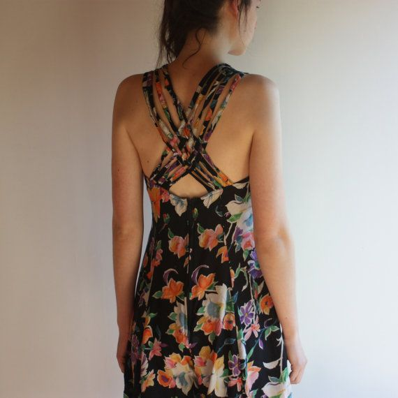 80's floral playsuit jumpsuit with braided by WoodhouseStudios, $50.00