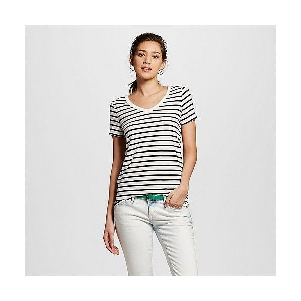 Women's Striped Favorite V tee White/Black Stripe ($9) ❤ liked on Polyvore featuring tops, t-shirts, white, black white striped shirt, white stripes t shirt, black and white striped tee, striped shirt and white tee