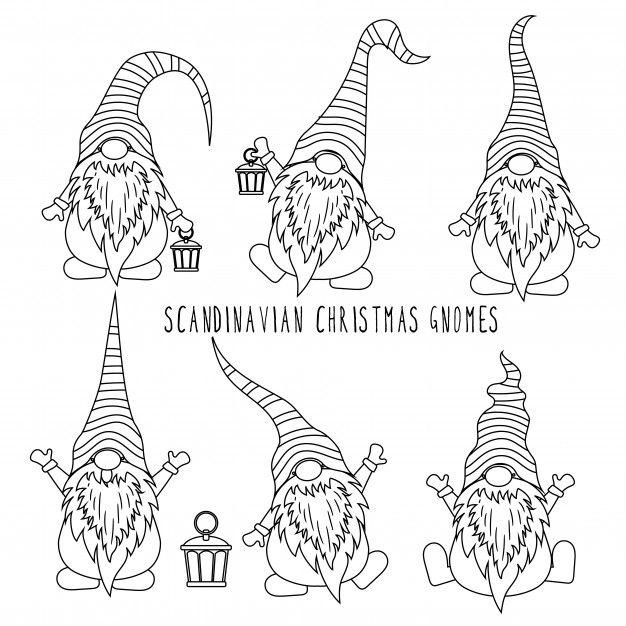 Chrismas Gnomes Collection For Coloring Avec Images Colorier Calendrier De L Avant Noel