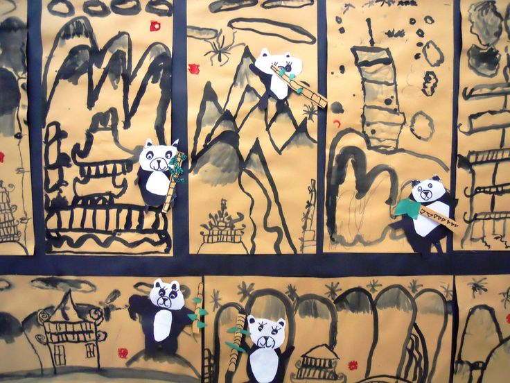 2nd Grade Chinese Landscape Paintings, with Collage Pandas.