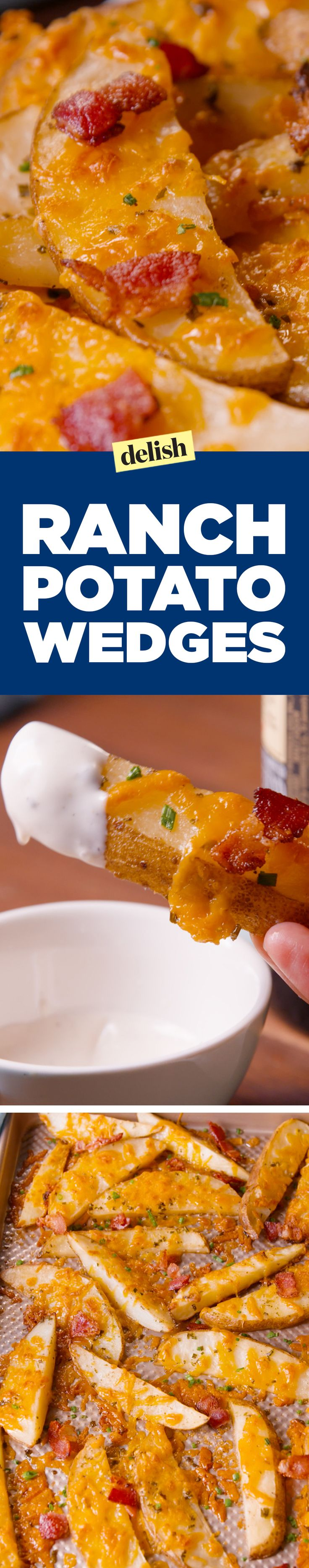 Ranch Potato Wedges are the only way to eat fries on game day. Get the recipe on Delish.com.