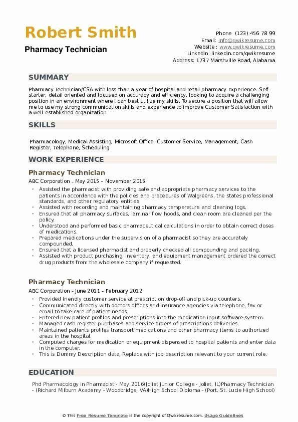 Pharmacy Technician Job Description Resume Best Of Pharmacy Technician Resume Samples In 2020 Middle School Science Teacher Middle School Science Resume Examples