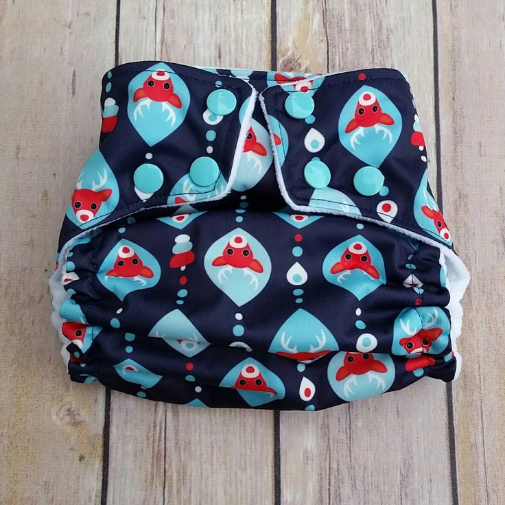 Pocket Cloth Diaper- Christmas Reindeer Diaper- One-size Blue Snaps-Gender Neutral Diaper- Holiday Theme - Ready to Ship- Eco-Friendly by TheClothOnes on Etsy