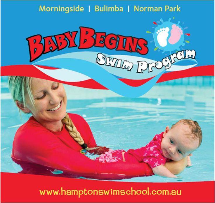 For babies 0 -3 months old. Hampton Swim Schools FREE swimming program, Baby Begins