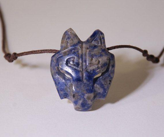 Wolf Necklace Blue Quartz Wolf Necklace Adjustable by shamanstones