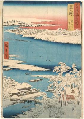 Utagawa Hiroshige (1797-1858), Musashi, Sumidagawa, Yuki no ashita (武蔵 隅田川雪の朝), 1853. From the series [Dai Nihon] Rokujûyoshū meisho zue (六十余州名所図絵). Signed Hiroshige hitsu (広重筆. Nishiki-e ōban tate-e), cm. 34,5 x 24. Publisher: Koshimuraya Heisuke (Koshihei). Wien, MAK, inv. KI 10953-16. A fine example of this print will be soon on auction at Florence Number Nine.
