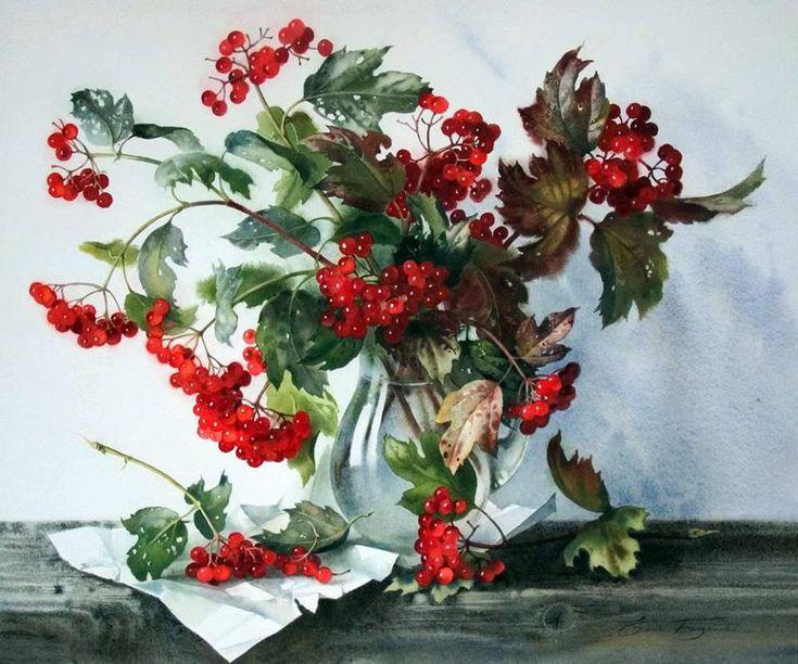 Ягодный натюрморт, акварель, художник Елена Базанова