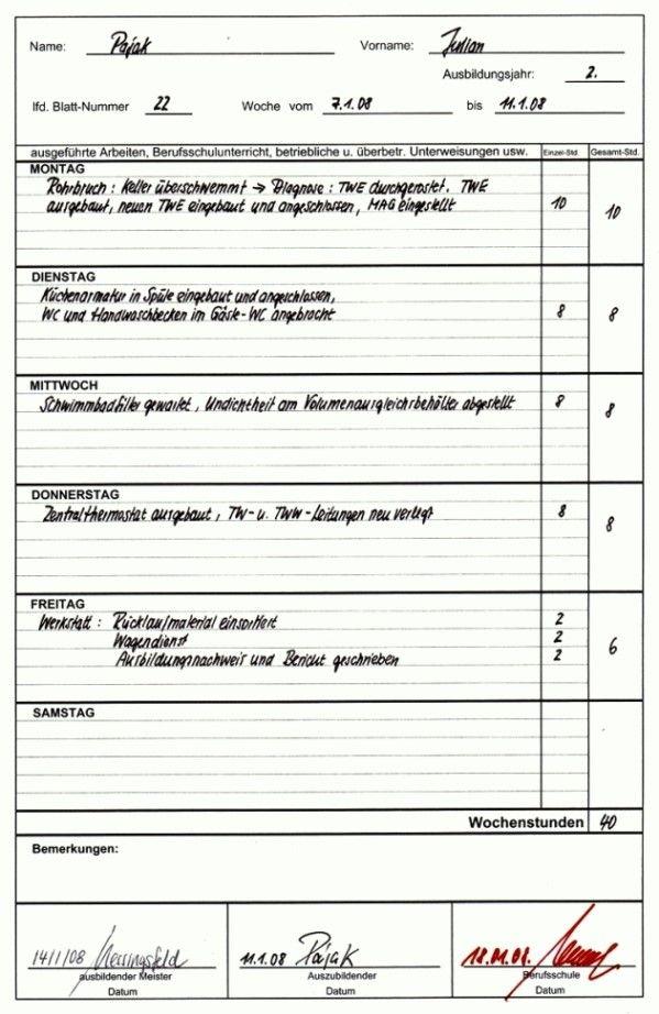 Ihk Berichtsheft Vorlage Download Stuttgart4694 Sheet Music