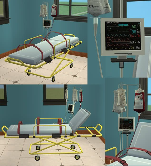 Stretcher With Straps And Monitor Theme Hospital Dr
