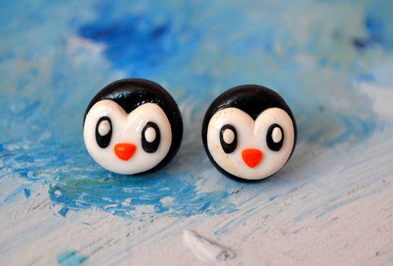 Penguin earrings silver plated studs animal by CraftyArtyAmelia, £6.20
