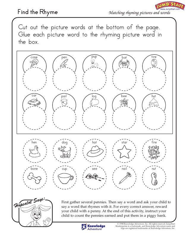 find the rhyme kindergarten language arts worksheets jumpstart - Free Printable Art Worksheets