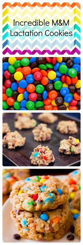 Incredible M&M lactation cookies to give your milk supply a needed boost. Visit http://steel-cut-oats.com for more recipes!