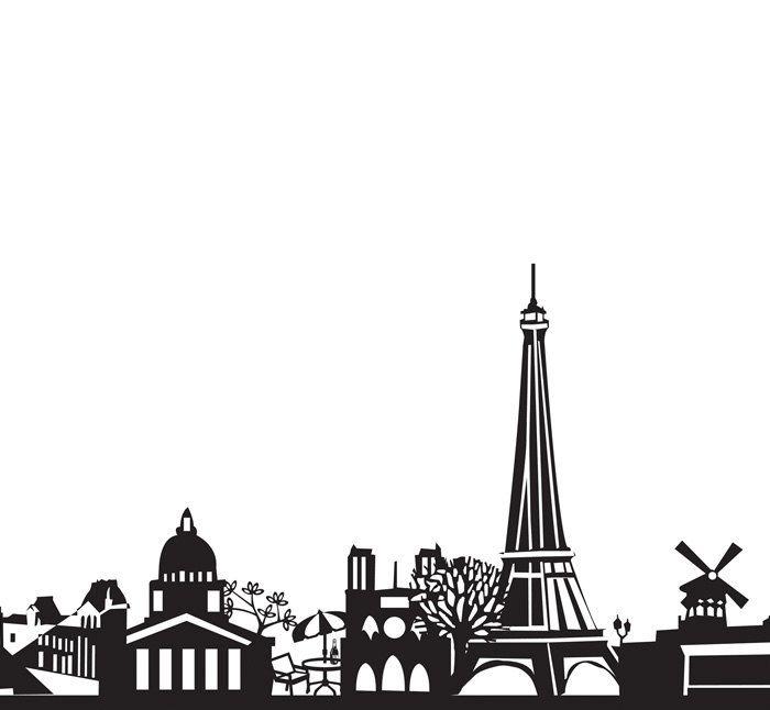 Paris Skyline Art - Paris Printable Art - Black & White Wall Art - Paris Wall Art - Travel Wall Art - Skyline Print - Gift by ArtlandStudio on Etsy