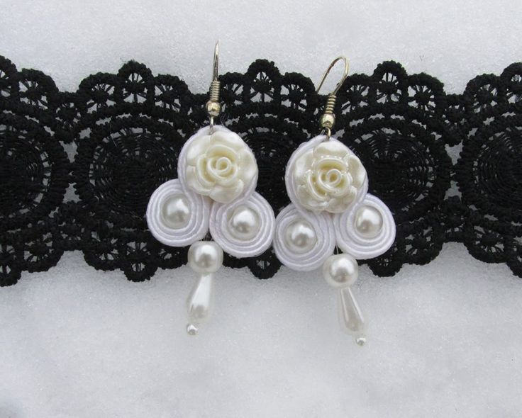 White soutache earrings with pearls and creamy white rose  glass cabochon!