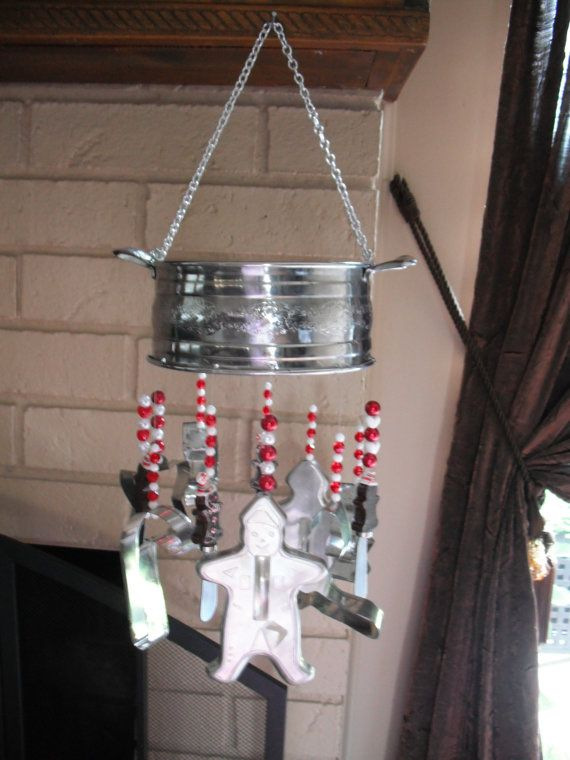 Holiday Wind Chime hand made with vintage  cookie cutters and  gingerbread man cheese spreaders