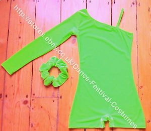 Now also in bright lime green , with complimentary matching scrunchie, check it out in my e bay store: http://stores.ebay.co.uk/Dance-Festival-Costumes