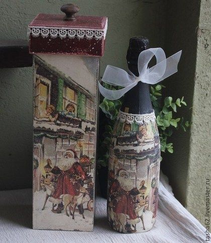 Новогоднее шампанское. | Рождественские поделки, Декупаж ...