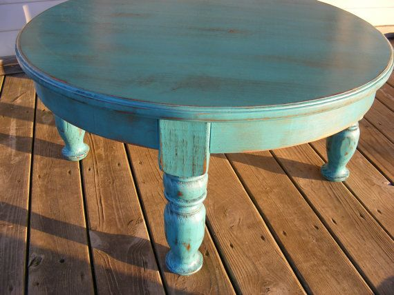 Beautiful Funky Handcrafted Distressed Turquoise 36 Inch Round 18 inch Tall Coffee Table