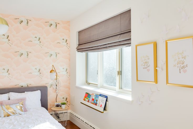We love using wallpaper on a headboard wall or crib wall. It fills the empty space without too much clutter. These birds totally add to the whimsical, light decor!