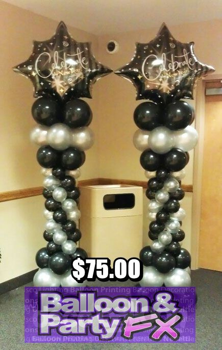 Graduation balloon columns balloon decorations for Balloon decoration graduation