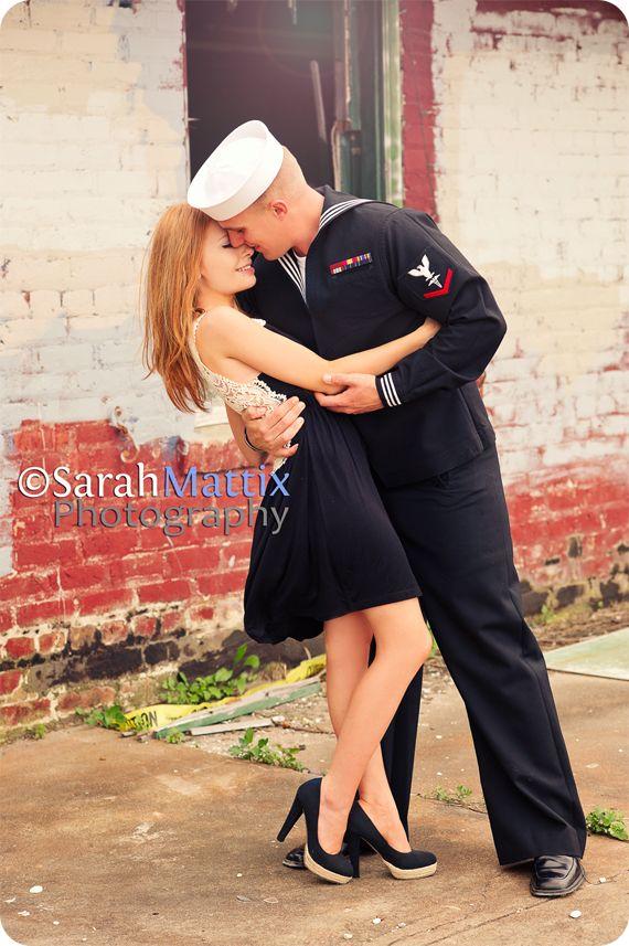 engagement session , couple, sarah mattix, navy, sailor, kiss, world war 2, facebook.com/sarahmattixphotographer