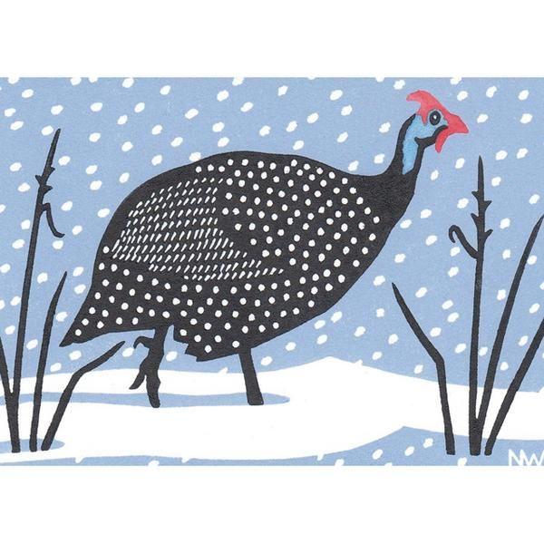 'Snowy Fowl' by Printmaker Nick Wonham. Blank Art Cards by Green Pebble. www.greenpebble.co.uk