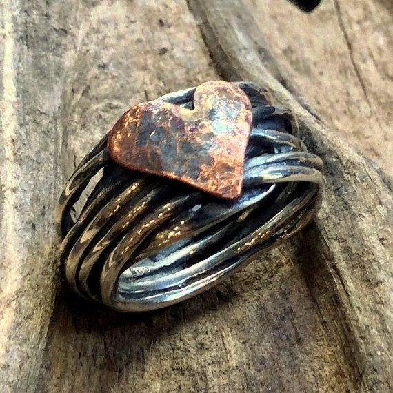 Engagement copper heart Ring, Silver Ring, Two tones Ring, heart Ring, wire wrap Ring, Statement Ring, boho chic band - I Found A Boy R2317