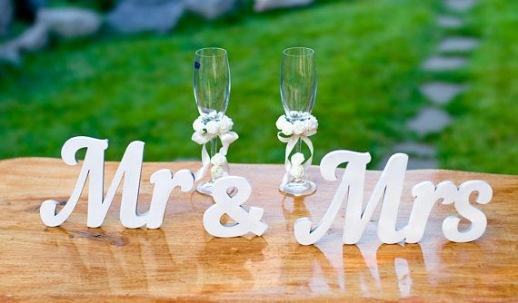 Check out this item in my Etsy shop https://www.etsy.com/listing/546062025/wooden-word-mr-mrs-for-the-table-decor