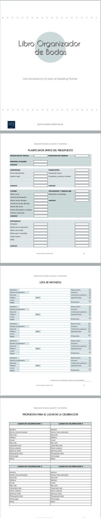 Todos nuestros alumnos reciben un Libro Organizador de Bodas. Y además les enseñamos a hacer el suyo propio. Contiene tablas, hojas de cálculo, cuestionarios, listas de tareas, listas de invitados, de proveedores, planificador de fotografías, de decoración, flores, música, colocación de comensales, Planificación de presupuesto, lista de regalos, etc. | Máster un Organización de Bodas, Protocolo y Etiqueta | Instituto Europeo Campus Stellae