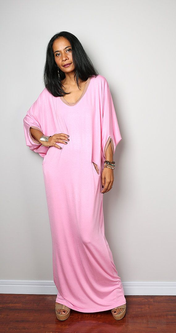 New Arrival !! from our Autumn Thrills Collection I gave this gorgeous casual long light pink dress a soft flowing neckline and a long loose skirt, which