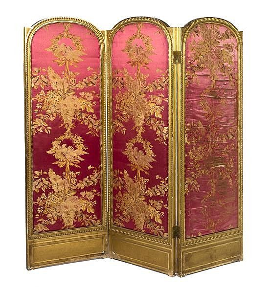 A Louis XVI Style Giltwood Three Panel Floor Screen, Height 69 1/2