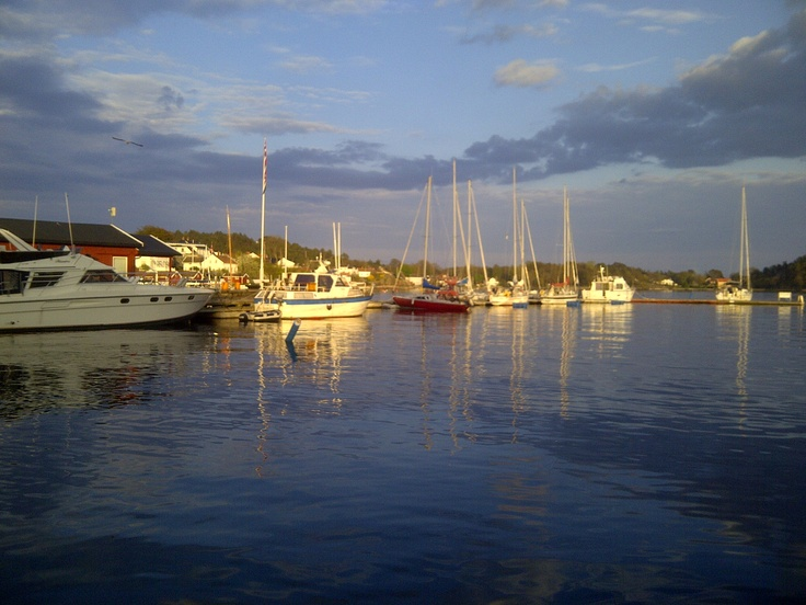 GRIMSTAD, a little southern Norway coastal town. Harbour view at 9:30pm, May-2013 BEAUTIFUL