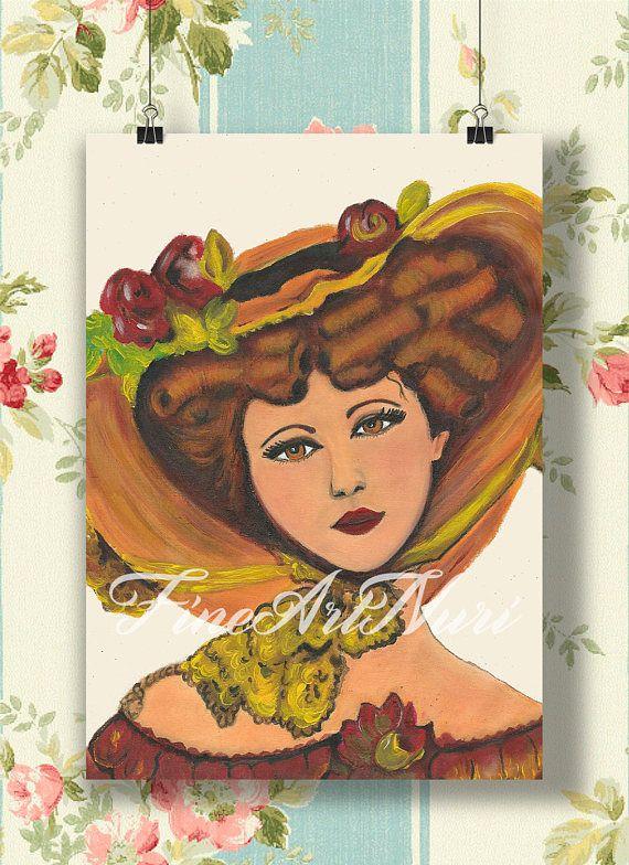 Impresión de arte victoriano mujer con sombrero hermosa dama