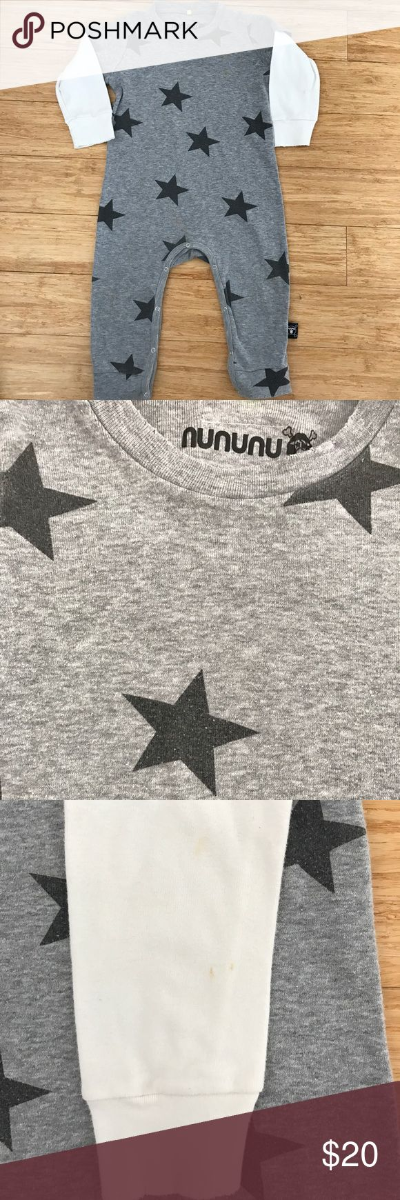 Nununu Grey One-piece In a very good used condition. Has a small stains on the sleeve ( pictured). Size 18-24 months. The one-piece is very soft and stylish. If you have any questions please comment below nununu One Pieces