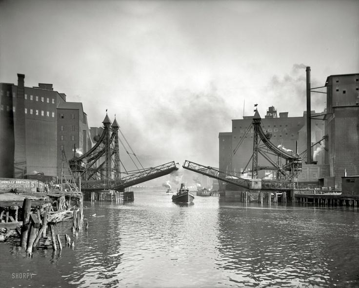 "1905 | Buffalo , New York . ""Jack-Knife Bridge, City Ship Canal , foot of Michigan Street """