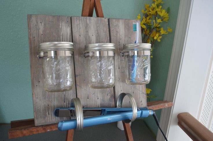 Mason Jar Organizer, Bathroom organizer, Straightener Holder, Curling Iron Holder, Rustic Mason Jar Organizer, Wooden Distressed Organizer by OnceWood on Etsy https://www.etsy.com/listing/261790402/mason-jar-organizer-bathroom-organizer