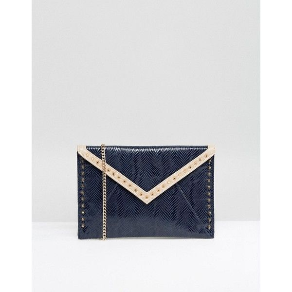 Carvela Studded Colourblock Envelope Clutch (570 DKK) ❤ liked on Polyvore featuring bags, handbags, clutches, navy, envelope clutch, studded clutches, leather purses, navy leather handbag and faux leather purses
