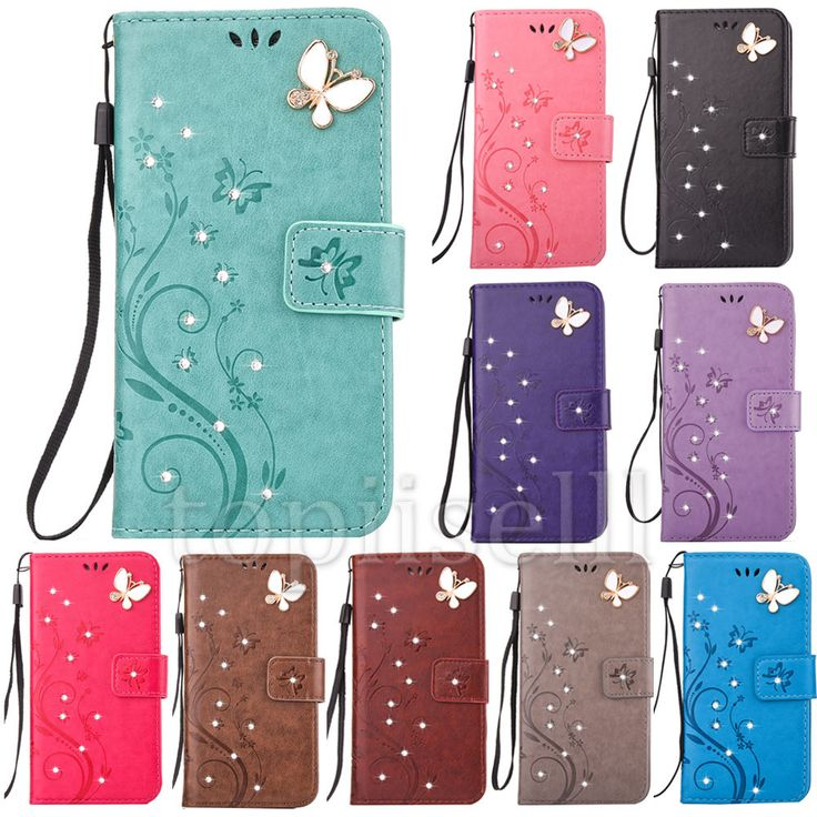 Fashion 3D Bling Strass Flip Patterned PU Leather Card Pocket Stand Case Cover 2