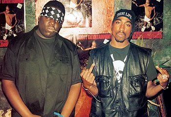 tupac shakur and biggie smalls | They look close, but really they're one armed robbery from biting each ...